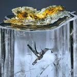 O incrível beija-flor capturado dentro de uma pedra de quartzo