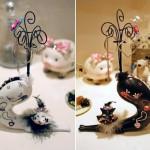 Displays porta-joias com gatos se espreguiçando de rabo em pé