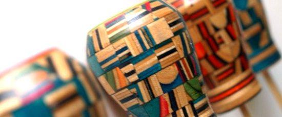 Madeira colorida reciclada