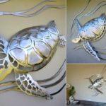 Reprodução de tartarugas marinhas em painéis de aço e alumínio