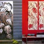 Folhas de costelas-de-adão em painéis de metal para paredes
