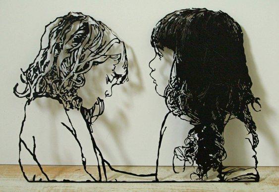 Retrato dos filhos em chapa de aço