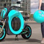 O design arejado da motocicleta conceitual elétrica 'Gafanhoto'