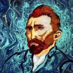 Noite Estrelada e Autorretrato de Van Gogh pintados na água