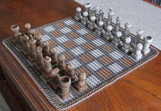 Xadrez montado com argolinhas