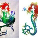 Sereias de cores vibrantes recortadas em chapas de metal