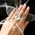 Jato d'água forma borboleta, aranha e flores em anéis de prata
