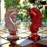 Jogo de xadrez moderno para harmonizar com ambiente rústico