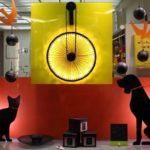 Luminárias com silhuetas de cão e gato recortadas em metal