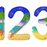 Números de endereço para casa de praia com pintura tropical