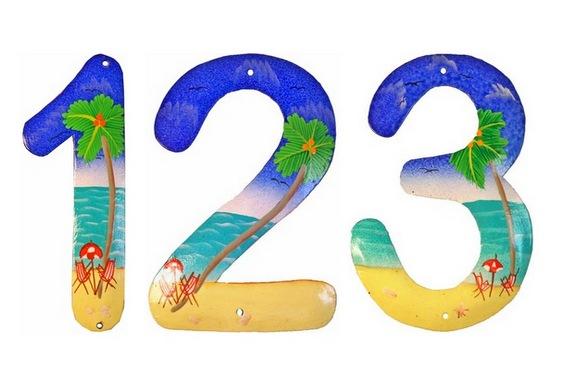 Números com paisagem de praia