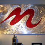 Painel de parede 3D com holografia em alumínio escovado