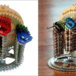 Pinhões de bicicletas reciclados como displays para chaveiros