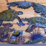Tartarugas marinhas em painel para decoração da casa de praia