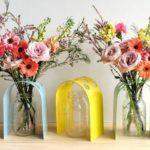 Suporte em U equilibra flores em pé no vasinho ou pote de vidro