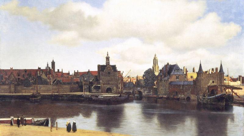 Pintura de cidade medieval