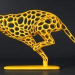 Escultura de guepardo, o mais veloz entre os felinos