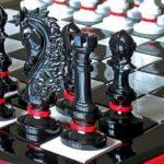 Jogo de xadrez Flamengo com as cores do rubro-negro
