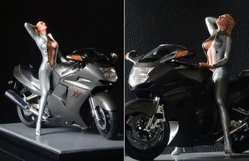 Escultura em miniatura de motoqueira