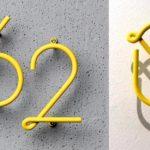 Números de endereço e alfabeto de letreiro estilo néon