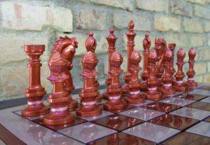 Peças escuras do jogo de xadrez