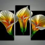 Painel de parede modular com holografias de copos-de-leite