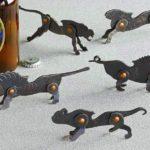 Esculturas de animais selvagens como abridores de garrafas retrô