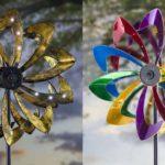 Cata-ventos coloridos de metal iluminados com lâmpadas LED