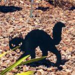 Silhueta de gato preto ranzinza para decorar a casa ou o jardim