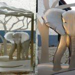 Portão de aço inox com girafas e elefante em savana africana