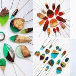 Bijuterias de madeira reciclada compostas com resina colorida
