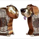 Ventiladores de metal cobreado com o formato de cão e gato