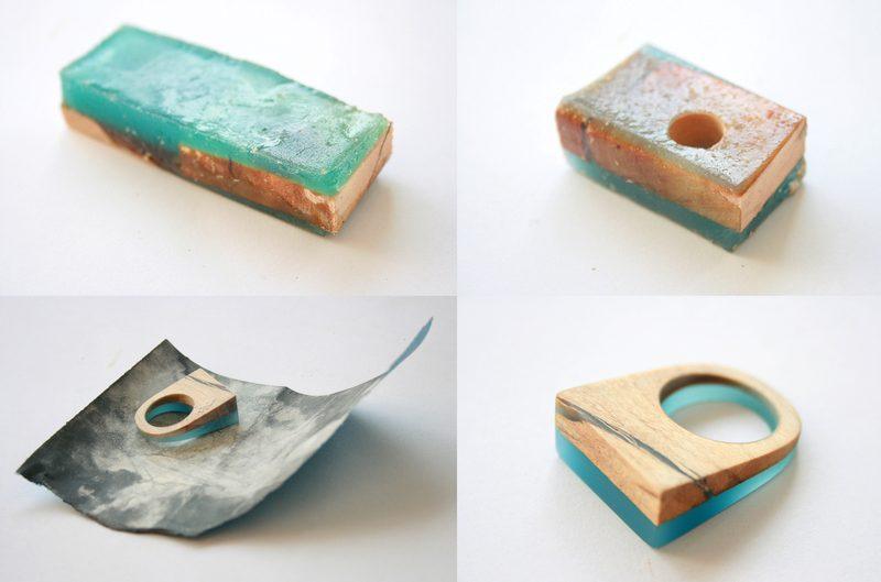 Joias de madeira com resina