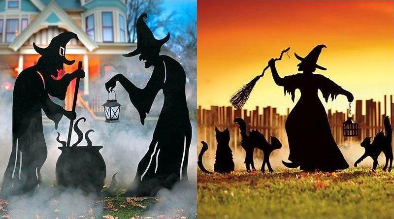 Bruxas com caldeirão e gatos pretos