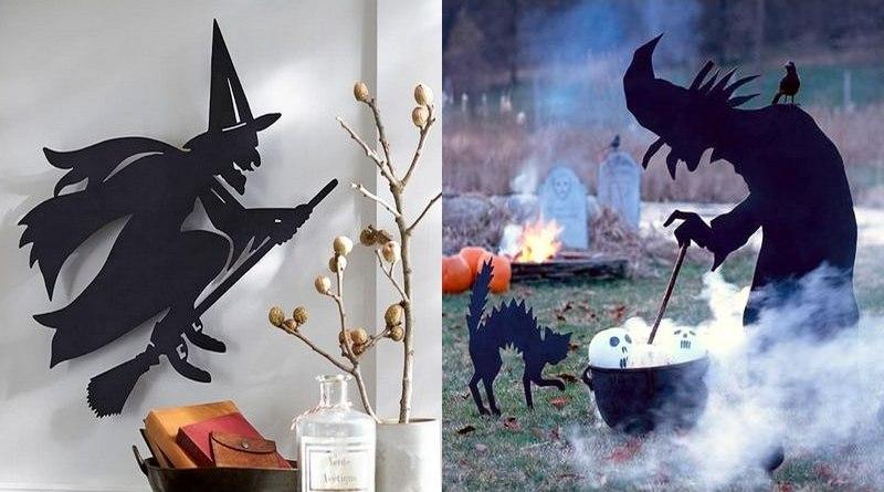 Bruxas com vassoura e caldeirão