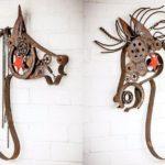 Cavalos de ferro-velho reciclado para decorar haras e fazendas