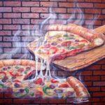 Painel mural 3D pintado com airbrush numa parede de pizzaria