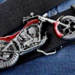 Fivela com réplica de chopper 3D para cintos de motociclistas