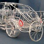 Artesanato africano com arame: fusquinha 3D com bike no rack