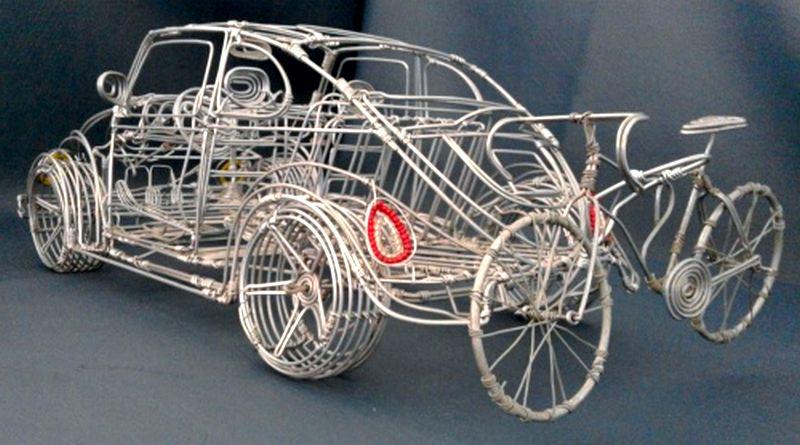 Réplica de Volks com fios de alumínio