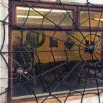 Teia de aranha como grade de ferro para proteger janela e porta
