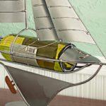 Barco a vela de metal como suporte para garrafas de vinho