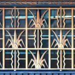Grade de segurança para janela com motivo vegetal art déco