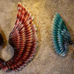 Asas de anjos com penas de metal para decoração de paredes