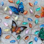 Painel 3D com plantas e borboletas coloridas de metal