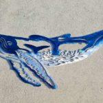 3 em 1: baleias jubarte no painel holográfico de alumínio colorido
