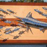 Marlim 3D de inox para decoração de imóveis no litoral