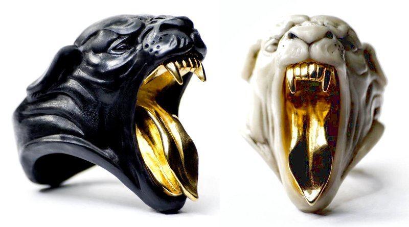 Anéis de mármore e metal