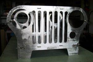 Grade frontal de jipe com aço inox