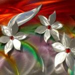 Quadro holográfico com flores 3D em inox ou alumínio escovado